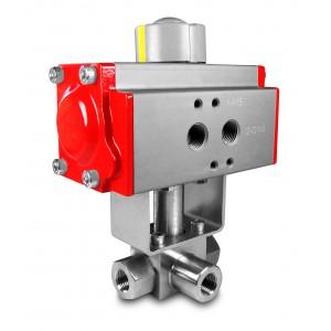 Υψηλής πίεσης βαλβίδα 3 κατευθύνσεων SS304 HB23 1 ίντσας με πνευματικό ενεργοποιητή AT75