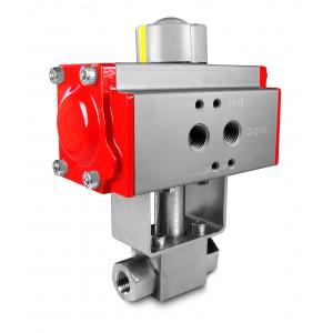 Βαλβίδα υψηλής πίεσης 1/2 ίντσας SS304 HB22 με πνευματικό ενεργοποιητή AT63