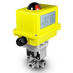 Υψηλής πίεσης 3-way βαλβίδα 3/8 ιντσών SS304 HB23 με ηλεκτρικό ενεργοποιητή A250