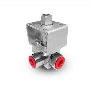 Υψηλής πίεσης βαλβίδα 3 κατευθύνσεων 1/4 ιντσών SS304 HB23 πλάκα στήριξης ISO5211