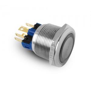 Κουμπί 22mm από ανοξείδωτο χάλυβα IP65 LED 230V ή 24V μπλε στιγμιαία