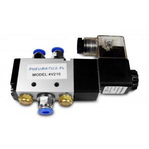 Ηλεκτρομαγνητική βαλβίδα 5/2 4V210 1/4 ιντσών για πνευματικούς κυλίνδρους + συνδέσμους 8mm