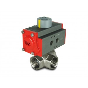 3-way Brass ball valve 1 ίντσα DN25 με πνευματικό ενεργοποιητή AT40